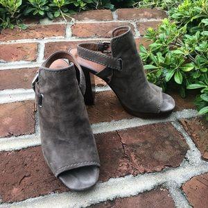 FRYE KARISSA suede leather, wood stack heels w 8